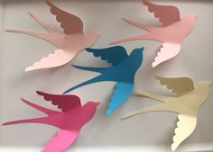 Ready to ship, 5 large paper birds, wall art, paper bird wall art, wall birds Includes the 5 birds shown in the photo 7 x 6 inches Paper Flowers For Kids, Paper Flower Wreaths, Large Paper Flowers, Paper Crafts For Kids, Paper Mache Crafts, Bird Crafts, Flower Crafts, Construction Paper Flowers, Paper Heart Garland