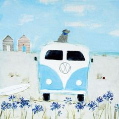 Blue Camper Art Greeting Card By Hannah Cole | Whistlefish Galleries