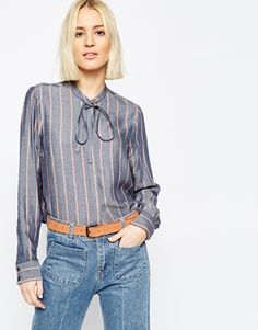 ASOS Soft Stripe Tie Front Shirt