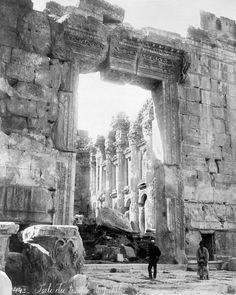 The Entrance to the Great Temple at Baalbek, photographed in 1900.