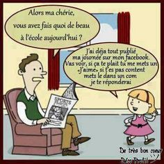 un père et sa fille. One grammar mistake though. Cute otherwise. Ap French, Funny French, French Words, Learn French, French Stuff, Core French, French Teaching Resources, Teaching French, French Pictures