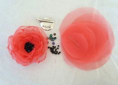 DIY Fabric Flower Coral Wedding Organza Circles For Flower Accessories and Projects - Make It Yourself- Wedding Bridesmaid Flowergirl - Stirnband - Organza Flowers, Felt Flowers, Diy Flowers, Fabric Flowers, Paper Flowers, Diy Fleur, Fleurs Diy, Flower Circle, Fabric Flower Tutorial
