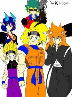 anime multiverse; 4th hokage/goku, naruto/gohan, rin okumura/ryuko matoi, ichigo/inuyasha, spike/vash the stampede