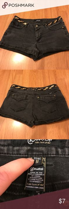 Black Rewind Short Shorts sz 11 Juniors Black rewind short shorts. Sequin design around waist all intact. Gently worn. Distressed look.  No visible flaws.  Approximate measurements waist 16 1/2 inches, length 9 1/2 inches. Very stretchy and comfortable. Rewind Shorts Jean Shorts