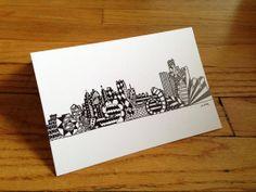 Detroit Skyline Hand Drawn Greeting Card