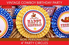 Vintage Cowboy Birthday Party  4 inch Party Circles & by LeeLaaLoo