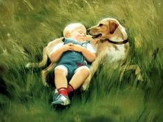 I Love Donald Zolan's paintings little boy and his dog in a field