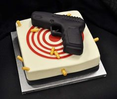 10 Gun Cakes For Kids That You Can Eat Without A Background Check - backgrounds Birthday Cake For Husband, Birthday Cakes For Men, Cake Birthday, Bithday Cake, Birthday Ideas, Ben's Cookies, Cupcake Cookies, Nerf Gun Cake, Gun Cakes