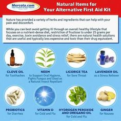 Rather than using conventional treatment and medicine, why not try these natural items for healing? Larger version: http://media.mercola.com/assets/images/social/infographic/NaturalFirstAidKit.jpg  http://www.womeninmotioncoaching.com/