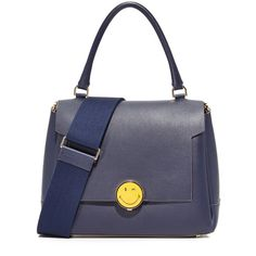 Anya Hindmarch Bathurst Small Satchel (119,715 INR) ❤ liked on Polyvore featuring bags, handbags, leather satchel, blue satchel handbags, leather satchel handbags, leather handbags and leather flap handbags