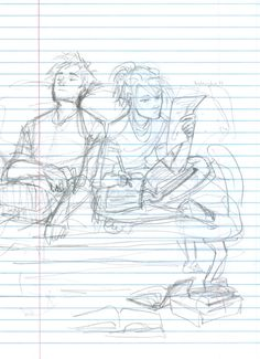 Savannah and Rusty:Research Time (Art by Burdge-bug. Couple Drawings, Art Drawings, Burdge Bug, Percy Jackson Fan Art, Cartoon Sketches, Art Sketches, Art Prompts, The Jacksons, Heroes Of Olympus