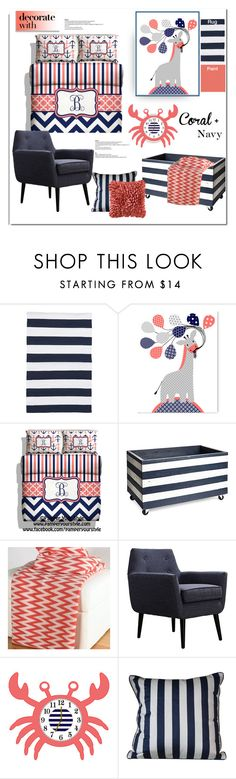"""Coral + Navy"" by lilieshomeandgarden ❤ liked on Polyvore featuring interior, interiors, interior design, home, home decor, interior decorating, Dash & Albert, Face to Face, Universal Lighting and Decor and Teen Vogue"