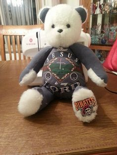 Memory Bear for family of deceased.  Made from the deceased man's favorite shirts.  He was a devout Christian, Avid golfer and Pittsburgh Pirates Fan.