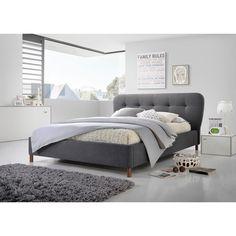 Baxton Studio Gennadios Mid-century Modern Grey Fabric Grid-tufting Platform Bed (Queen Size Bed-Dark Grey)