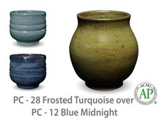 AMACO Potter's Choice layered glazes PC-12 Midnight Blue and PC-28 Frosted Turquoise.