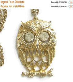 """❘❘❙❙❚❚ Spring Sale ❚❚❙❙❘❘     This is a really cute Owl Pendant Necklace with Rhinestone Eyes Vintage!  This pendant owl measures 2"""" in length by 1 3/8"""" wide and has dangle... #vintage #jewelry #fashion #ecochic #vogueteam"""
