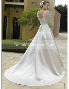 Stilvoll Princess-Stil Lange Ärmel Kapelle-Schleppe Satin Hochzeitskleid WM0015