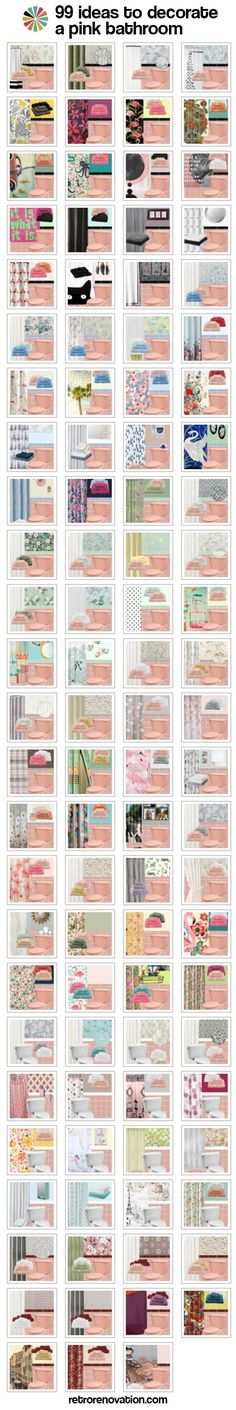 99 ideas to decorate a pink bathroom: Complete slide show - Retro Renovation - We did it! We created 99 mood boards, each with a different design to decorate a pink bathroom. Pink Bathroom Tiles, Pink Tiles, Vintage Bathrooms, Grey Bathrooms, Bathroom Colors, 1950s Bathroom, Small Bathroom, Bungalow Bathroom, Cool Diy