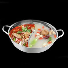 30cm Stainless Steel Hot Pot Shabu Shabu Dual Site Induction Gas Stove Compatible Home Kitchen Cookware Cooking Pot Without Lid