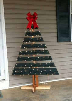 Shipping pallet made into a Christmas tree