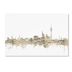 Berlin Germany Skyline Sheet Music by Michael Tompsett Graphic Art on Wrapped Canvas