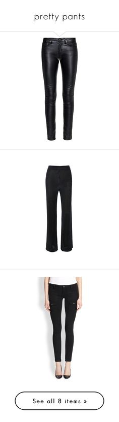 """""""pretty pants"""" by jamie-lea-wellik ❤ liked on Polyvore featuring pants, bottoms, jeans, calças, trousers, black, skinny pants, skinny fit pants, shiny pants and skinny trousers"""