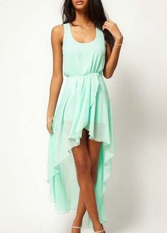 Beach Essential Light Green Chiffon High Low Dress