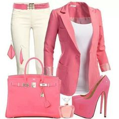 Pink and white smart casual