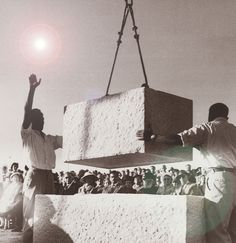 October 14, 1958: The corner stone of the Israeli parliament- the Knesset, in Jerusalem.