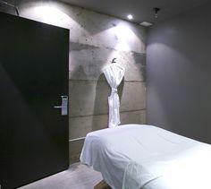 LEMAYMICHAUD | Quebec | Architecture | Interior Design | Hotel | Auberge Saint-Antoine | Spa Architecture Design, Bathroom Lighting, Spa, Mirror, Furniture, Home Decor, Bathroom Light Fittings, Architecture Layout, Bathroom Vanity Lighting