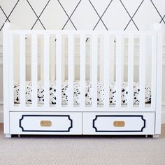 Uptown Crib by Nursery works  I love the brass drawer pulls