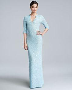 Oscar de la Renta - Sequin Knit Caftan Gown