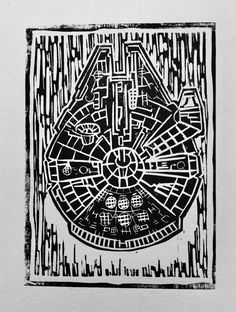 This is a linocut print of the Millennium Falcon, or as I call it, the Linoleum Falcon. It is printed in water-based ink on high quality white card. Linocut Prints, Ink, Handmade, Stuff To Buy, Etsy, Black, Art, Hand Made, Black People