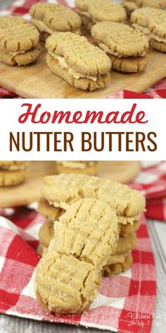 These Homemade Nutter Butters are the tastier, softer, creamier version of the classic cookie. If you love peanut butter you are going to love these. Nutter Butter Cookies, Peanut Butter Cookie Recipe, Peanut Butter Recipes, Molasses Cookies, Delicious Cookie Recipes, Dessert Recipes, Delicious Food, Vegan Recipes, Biscuits