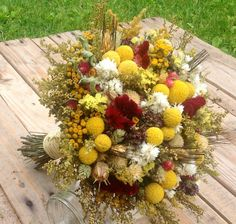 Sun and Gold Collection Bridesmaid Bouquet - Toss Bouquets, Spring Wedding, Golden Yellow White Burgundy, Billy Buttons, Dried Flowers