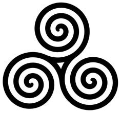 Celtic triple spiral--Represents the drawing of the three powers of maiden, mother and crone. It is a sign of female power and especially power through transition and growth.