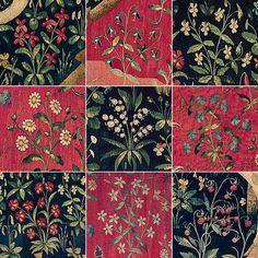 Medieval Tapestry, Medieval Art, Medieval Pattern, Unicorn Tapestries, Art Chinois, Medieval Paintings, Blue Tapestry, Renaissance Era, Art Japonais