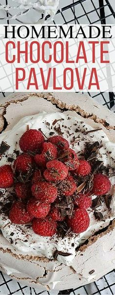 This homemade chocolate pavlova recipe is a simple and easy recipe that takes just a few ingredients and looks gorgeous! via @miznelliebellie