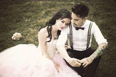 Lexi & iain  #alternative #bridal #wedding #tattoos #photography #love  www.jenmarino.com