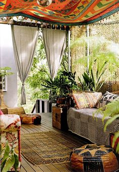 Hang curtains on ceiling and sides of porch - looks like a gypsy I LOVE THIS!!
