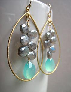 Aqua Chalcedony and Labradorite Cluster Gold Hoop Earrings, Handmade Gemstone Earrings. Etsy: NellBelle Designs, $45
