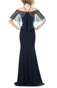 Main Image - Theia Halter Neck Off the Shoulder Mermaid Gown