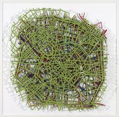 Matthew Picton Milan ~ Duralar, enamel paint, pins, 2007. 35″ x 36″ x 4″