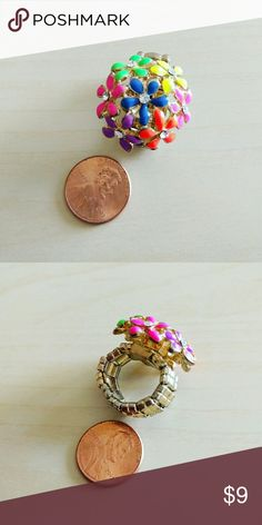 Colorful Floral Ring Colorful Floral Ring. It has an elastic band so perfect for everyone! Jewelry Rings
