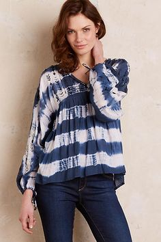 Aerin Striped Peasant Blouse, Blue