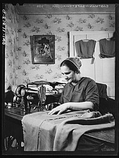 Lititz (vicinity), Pennsylvania. Mennonite farmer's wife dressmaking 1 negative : safety ; 3 1/4 x 4 1/4 inches or smaller.      Contributor: Collins, Marjory     Original Format: Photos, Prints, Drawings     Date: 1942