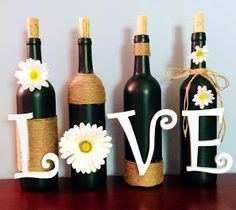 DIY Wine Bottle Decoration :   ( I made this for a friend of mine for her wedding. )