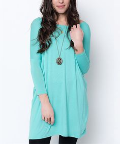 Look at this Caralase Mint Drop-Shoulder Tunic on #zulily today!