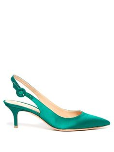 Arriving in a striking emerald-green hue, Gianvito Rossi's satin Anna pumps are a refreshing alternative to classic black. They're shaped with a point toe and skinny slingback strap to elongate the leg, and are finished on an elegant kitten heel. Wear them to add vigour to ladylike looks.