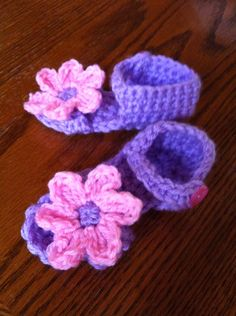 Pink & purple baby sandals by MyCreativeAddictions on Etsy